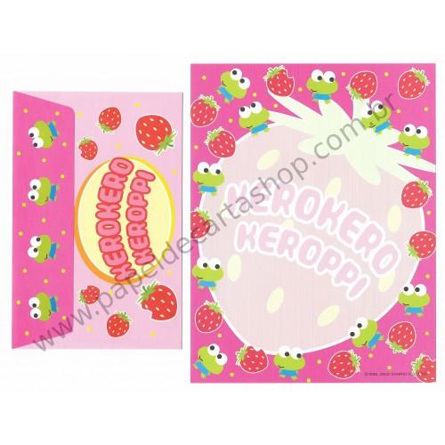 Ano 2002. Conjunto de Papel de Carta Keroppi Strawberry Sanrio