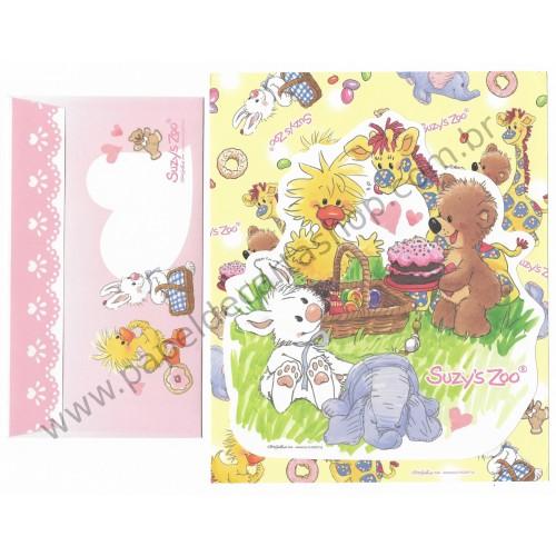 Ano 2010. Conjunto de Papel de Carta IMPORTADO Suzy's Zoo CAM