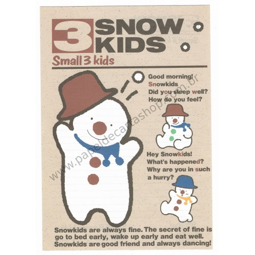 Conjunto de Papel de Carta Antigo (Vintage) 3 Snow Kids JAPAN