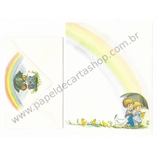 Conjunto de Papel de Carta Antigo Importado Little Rainbows Phacos