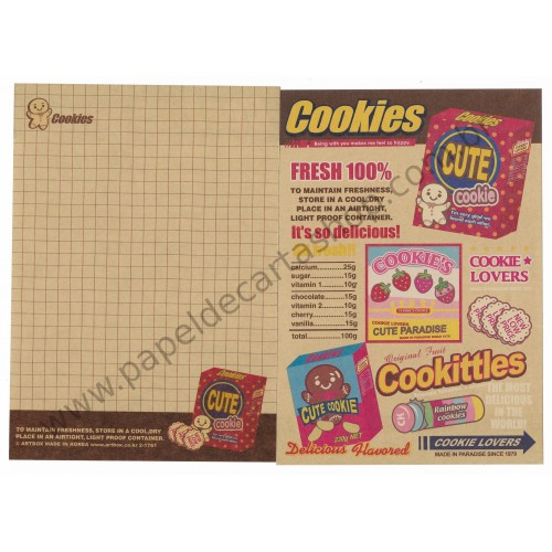 Papel de Carta AVULSO Cookittles - Art-Box Korea