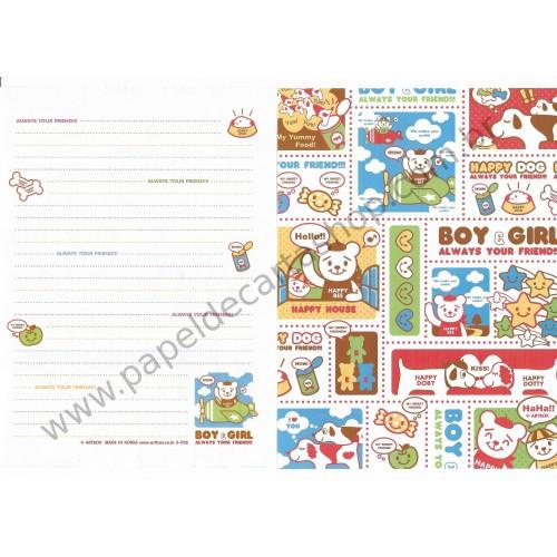 Papel de Carta AVULSO Happy Dog Boy & Girl - Art-Box Korea