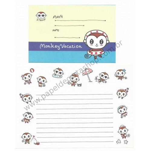 Conjunto de Papel de Carta Importado Monkey Vacation - Japan