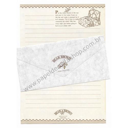 Conjunto de Papel de Carta Antigo (Vintage) Bear Brown - Japan
