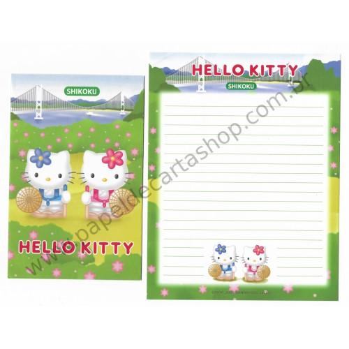 Ano 2001. Conjunto de Papel de Carta Gotōchi Kitty Shikoku Sanrio