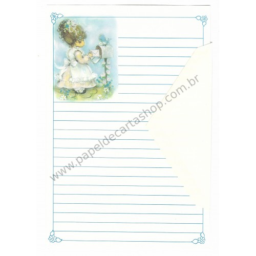 Conjunto de Papel de Carta Antigo Importado Menininha 25 - Hallmark