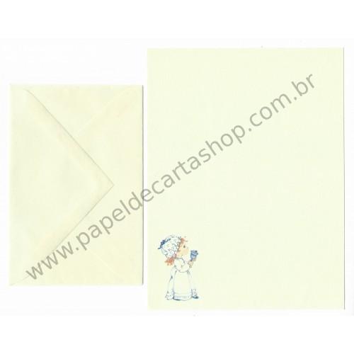 Conjunto de Papel de Carta Antigo Importado Blue Bell