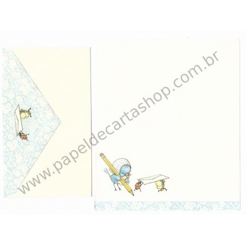 Conjunto de Papel de Carta Antigo Importado Blue Bird Hallmark