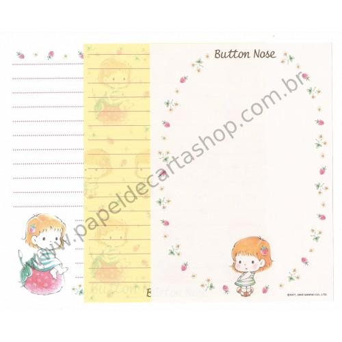 Ano 2002. Conjunto de 3 Papéis de Carta Button Nose Antigo (Vintage) Sanrio