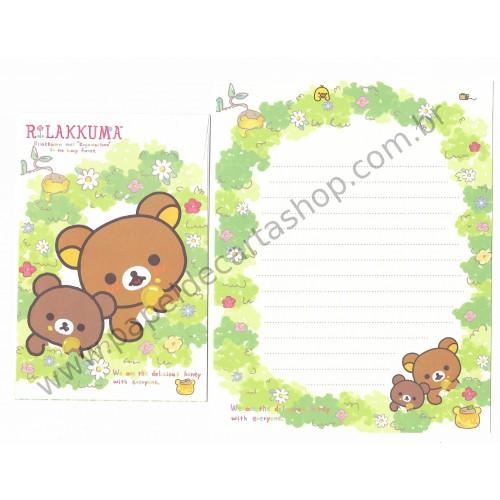 Kit 4 Conjuntos de Papel de Carta Rilakkuma in the Honey Forest - San-X