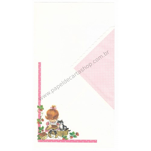 Conjunto de Papel de Carta Antigo Importado Morangos 2