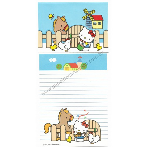 Ano 1985. Conjunto de Papel de Carta Hello Kitty Antigo (Vintage) Farm Sanrio