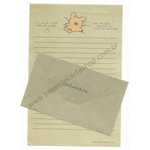 Ano 1985. Conjunto de Papel de Carta Zashikibuta Antigo (Vintage) Sanrio Japão