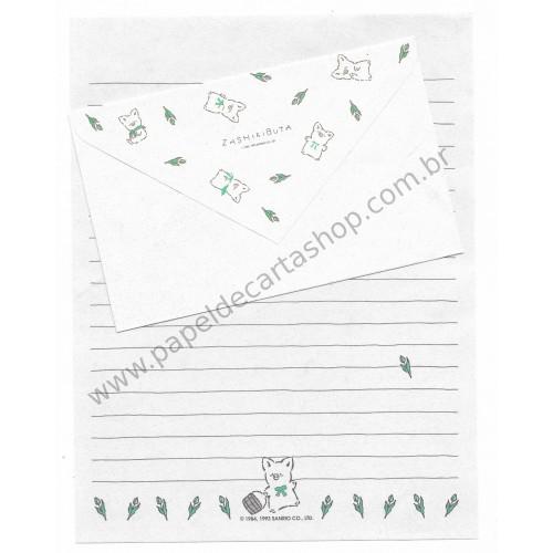 Ano 1993. Conjunto de Papel de Carta Zashikibuta CMR Antigo (Vintage) Sanrio