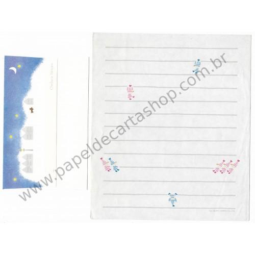 Ano 1977. Conjunto de Papel de Carta Chelsea Stripes Vintage Sanrio