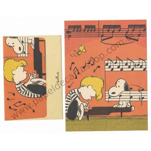 Conjunto de Papel de Carta Snoopy & Schroeder r Peanuts Hallmark