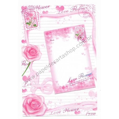 Conjunto de Papel de Carta Importado Love Flower - i-Neu