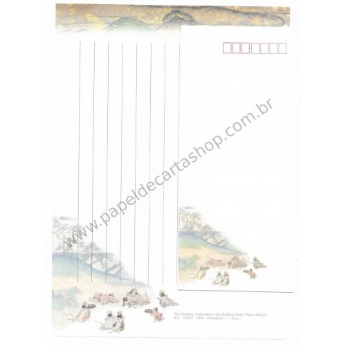 Conjunto de Papel de Carta Antigo (Vintage) Buddhist Sutra - Aki Miyajima