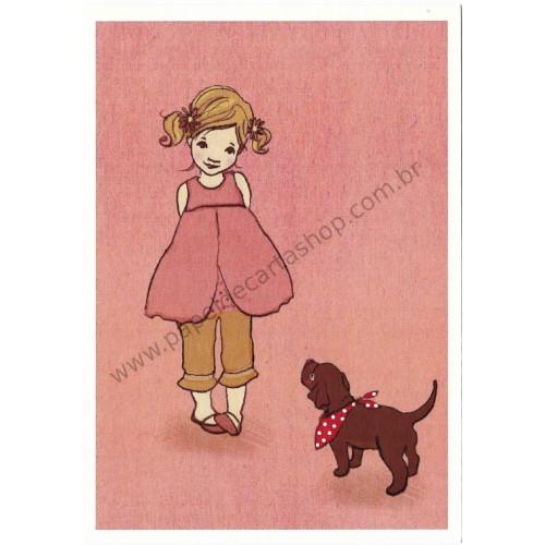 Cartão Postal Ava & the dog - Belle & Boo