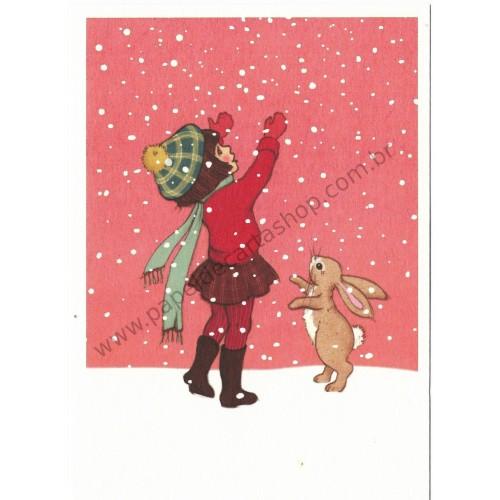 Cartão Postal Catching Snow - Belle & Boo