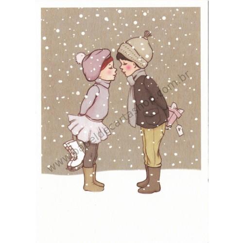 Cartão Postal Winter Kiss - Belle & Boo