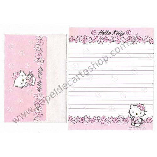 Ano 2001. Conjunto de Papel de Carta Hello Kitty Spring CRS - Sanrio