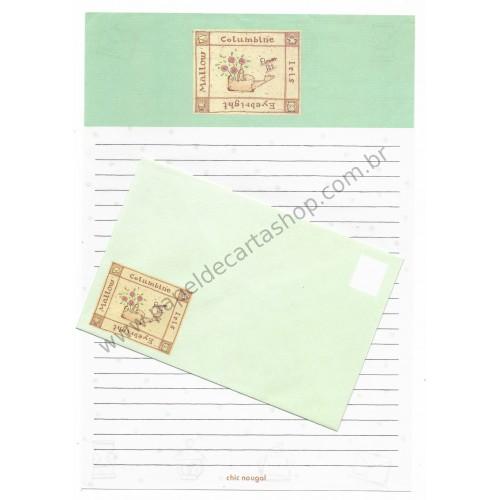 Conjunto de Papel de Carta Antigo (Vintage) Columbine YÜKARI JAPAN