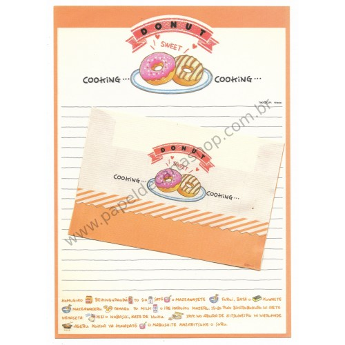 Conjunto de Papel de Carta Antigo (Vintage) Cooking Donut Venice JAPAN