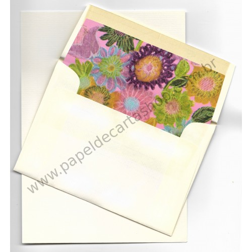 Conjunto de Papel de Carta Antigo Importado Flores CRS
