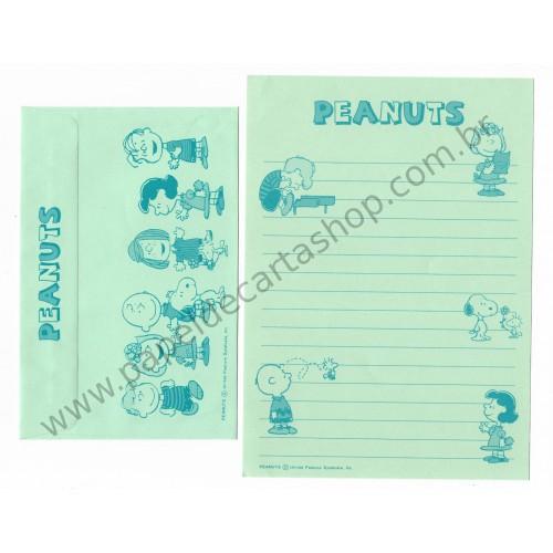 Conjunto de Papel de Carta Antigo (Vintage) Peanuts CVD Hallmark Japan
