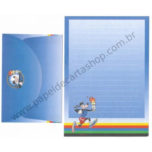 Conjunto de Papel de Carta ANTIGO Personagens Disney Pateta CAZ