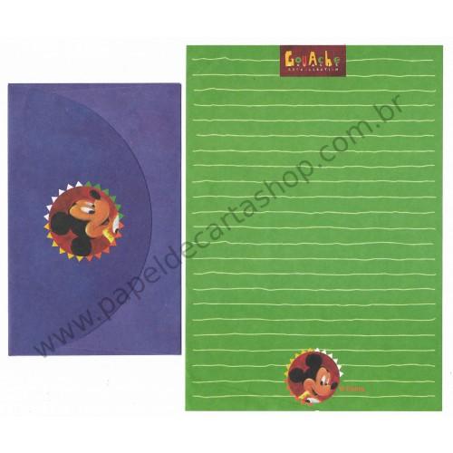 Conjunto de Papel de Carta ANTIGO Personagens Disney Mickey CVD Gouache