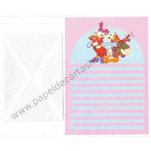 Conjunto de Papel de Carta ANTIGO Personagens Disney Donald & Margarida