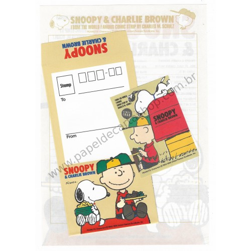 Conjunto de Papel de Carta Snoopy & Charlie Brown CVM Antigo (Vintage) Hallmark