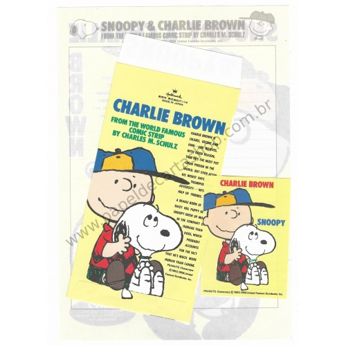 Conjunto de Papel de Carta Snoopy & Charlie Brown CAM Antigo (Vintage) Hallmark
