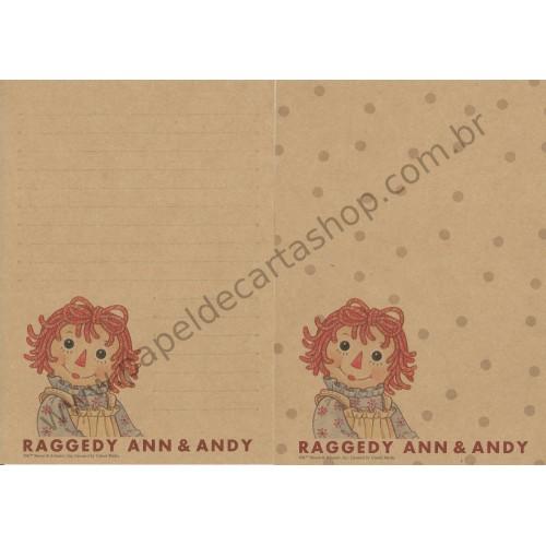 Conjunto de Papel de Carta Importado Raggedy Ann & Andy CBG