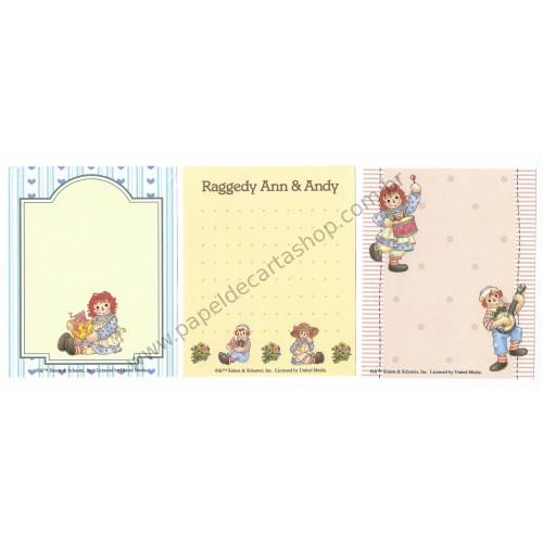 Kit 3 Notas Importados Raggedy Ann & Andy