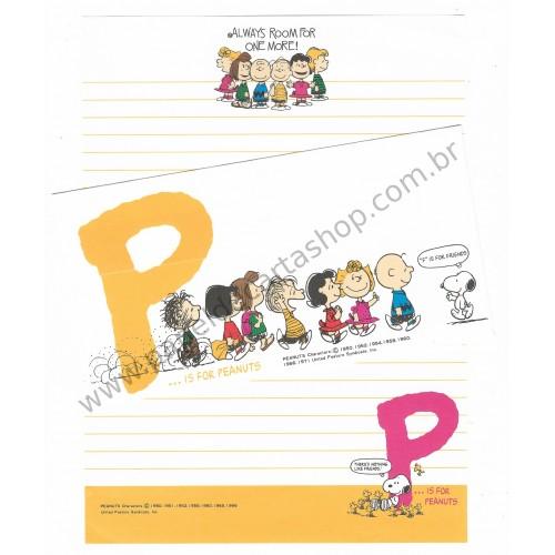 Conjunto de Papel de Carta P is for Peanuts CAM Vintage Hallmark Japan