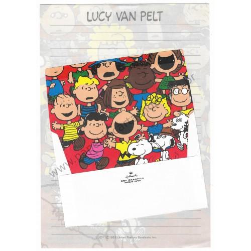 Conjunto de Papel de Carta Lucy Van Pelt Vintage Hallmark Japan
