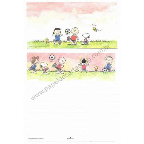 Conjunto de Papel de Carta Antigo (VIntage) Snoopy & Friends Football