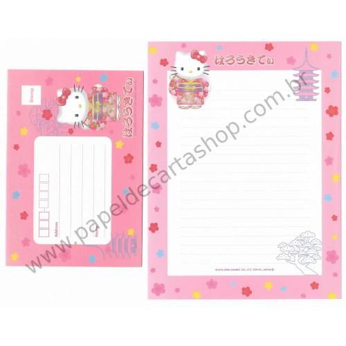 Ano 2000. Conjunto de Papel de Carta Hello Kitty Japão F2 Sanrio