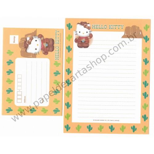 Ano 2000. Conjunto de Papel de Carta Hello Kitty EUA Sanrio