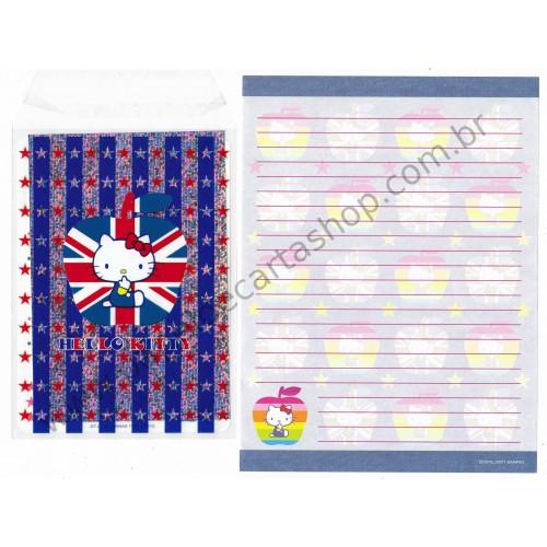 Ano 2001. Conjunto de Papel de Carta Hello Kitty UK Sanrio