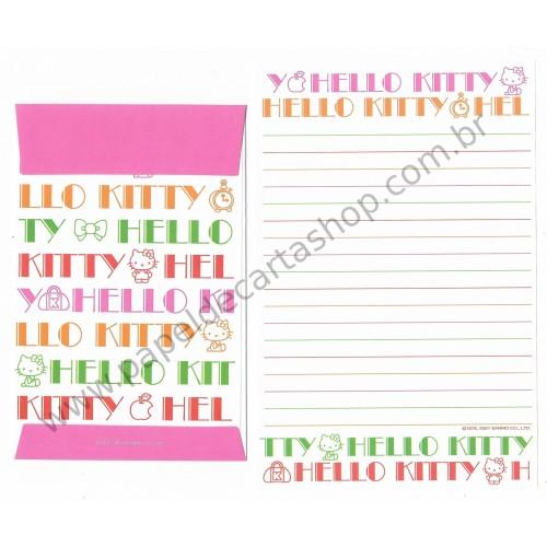 Ano 2001. Kit 2 Conjuntos de Papel de Carta Hello Kitty DUPLA Sanrio