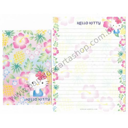 Ano 2001. Conjunto de Papel de Carta Hello Kitty Hibiscus Sanrio