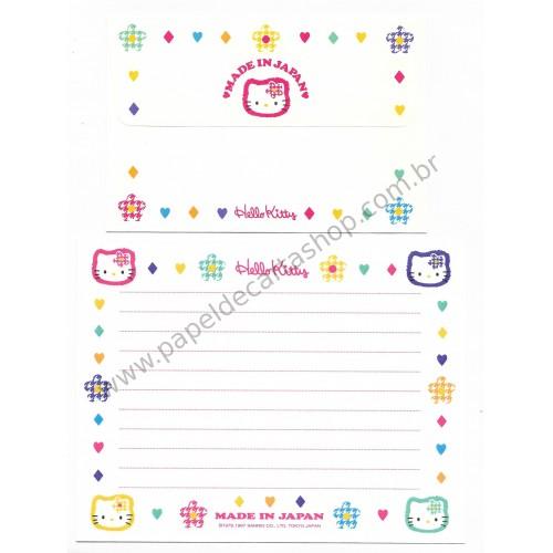 Ano 1997. Conjunto de Papel de Carta Hello Kitty Made in Japan CBR Antigo (Vintage) Sanrio