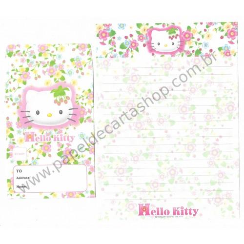 Ano 2001. Conjunto de Papel de Carta Hello Kitty Flores CBR Sanrio