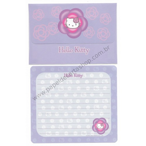 Ano 2001. Kit 2 Conjuntos de Papel de Carta Hello Kitty Camélias Sanrio