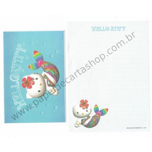 Ano 1997. Conjunto de Papel de Carta Hello Kitty Sereia (Vintage) Sanrio