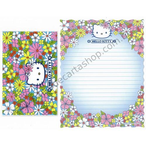 Ano 2001. Conjunto de Papel de Carta Hello Kitty Flores CPLA Sanrio